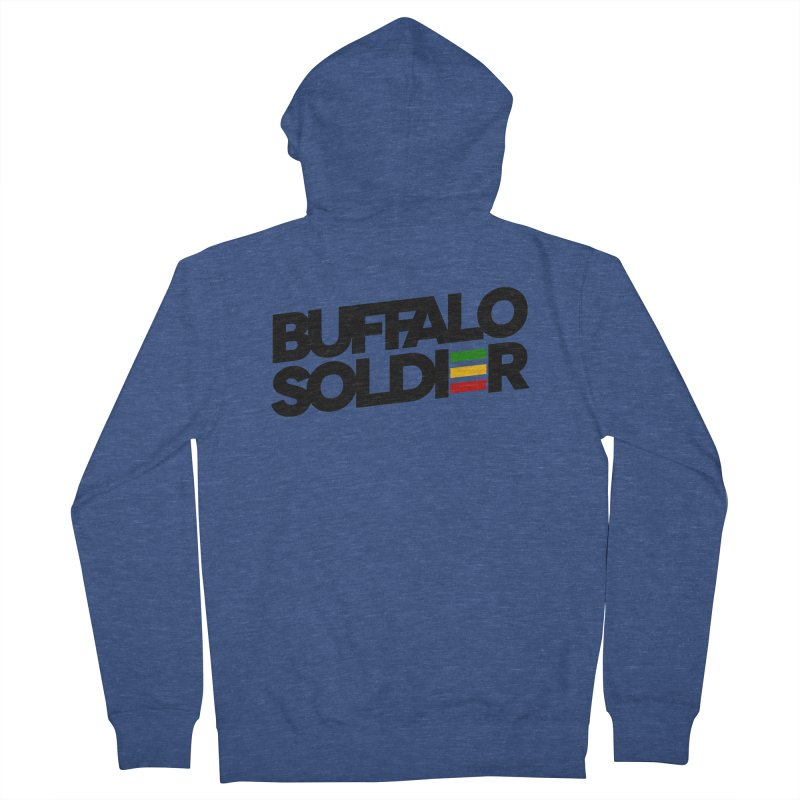 Buffalo Soldier (Dark) Men's French Terry Zip-Up Hoody by Rasta University Shop
