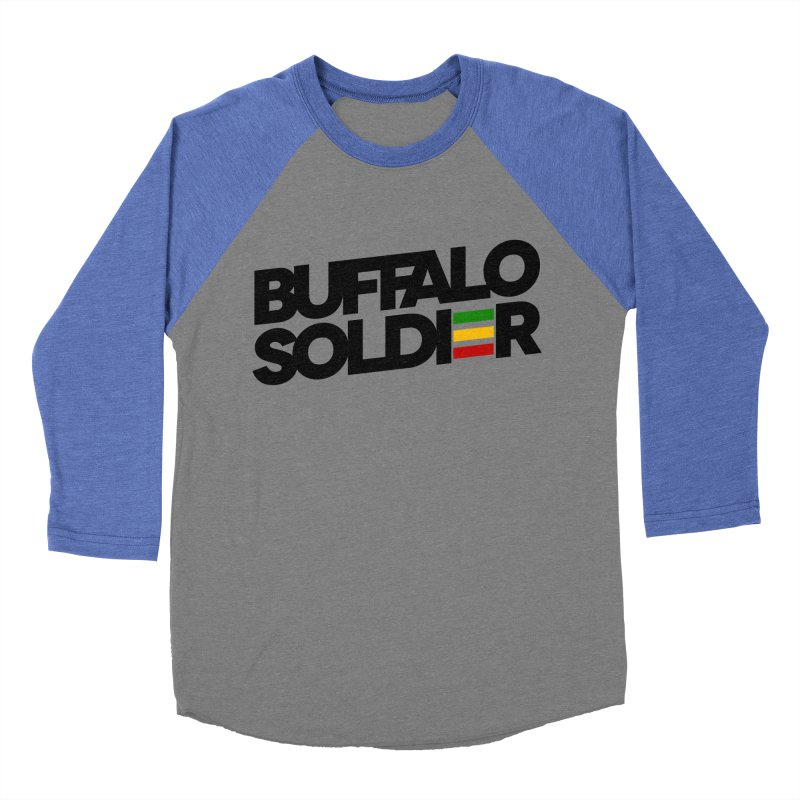 Buffalo Soldier (Dark) Men's Baseball Triblend Longsleeve T-Shirt by Rasta University Shop