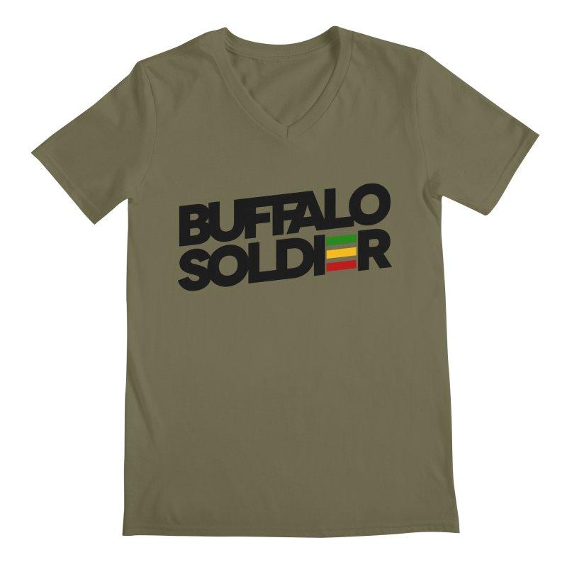 Buffalo Soldier (Dark) Men's Regular V-Neck by Rasta University Shop