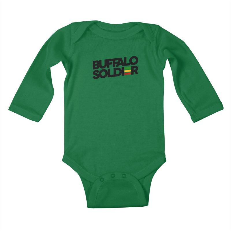 Buffalo Soldier (Dark) Kids Baby Longsleeve Bodysuit by Rasta University Shop