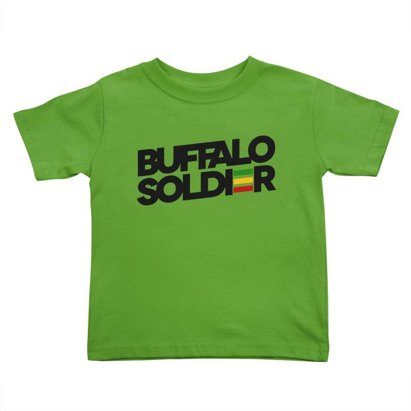 Buffalo Soldier (Dark) Kids Toddler T-Shirt by Rasta University Shop