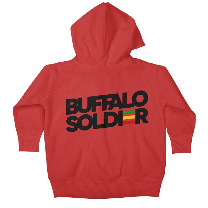 Buffalo Soldier (Dark) Kids Baby Zip-Up Hoody by Rasta University Shop