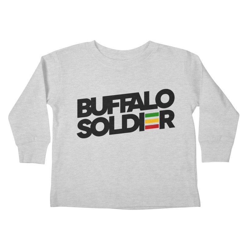 Buffalo Soldier (Dark) Kids Toddler Longsleeve T-Shirt by Rasta University Shop