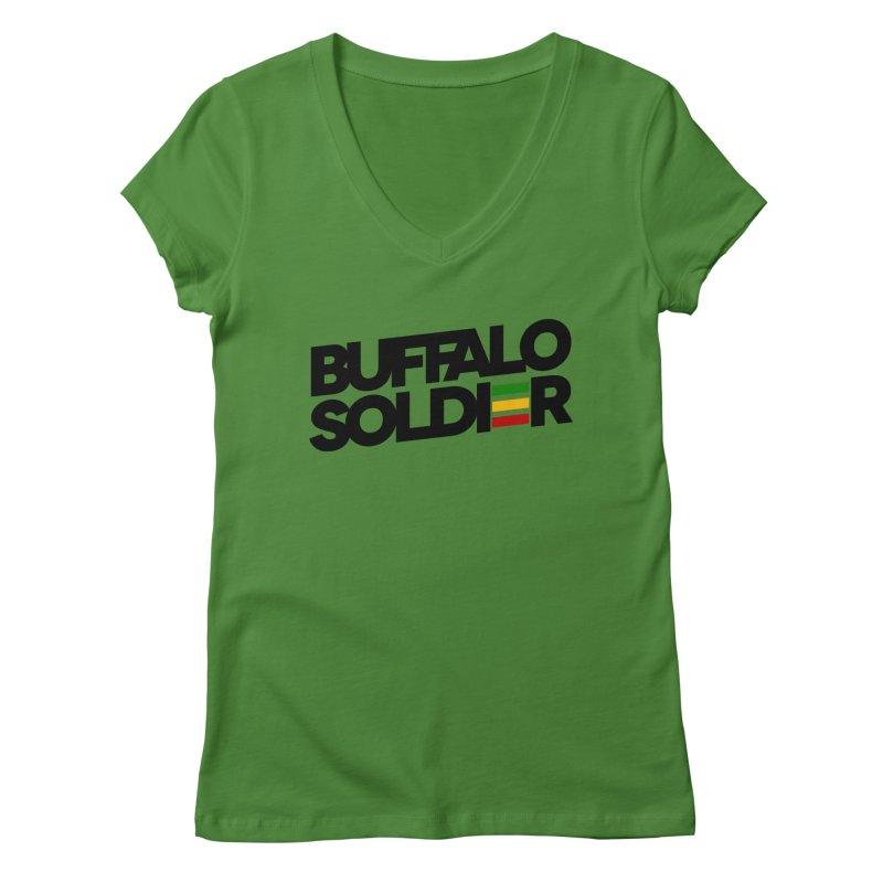 Buffalo Soldier (Dark) Women's Regular V-Neck by Rasta University Shop