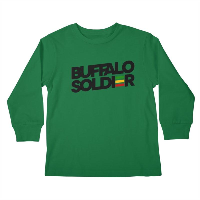 Buffalo Soldier (Dark) Kids Longsleeve T-Shirt by Rasta University Shop