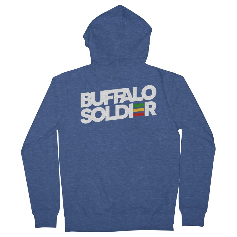 Buffalo Soldier (Light) Men's French Terry Zip-Up Hoody by Rasta University Shop