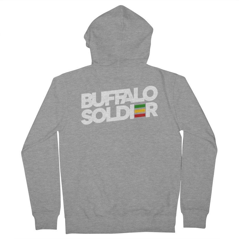 Buffalo Soldier (Light) Men's French Terry Zip-Up Hoody by Rasta University Shop
