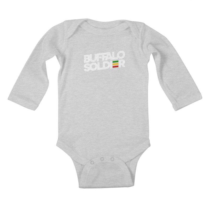 Buffalo Soldier (Light) Kids Baby Longsleeve Bodysuit by Rasta University Shop