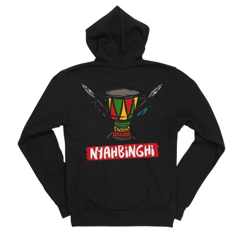 Rasta Nyabinghi Drum Men's Sponge Fleece Zip-Up Hoody by Rasta University Shop