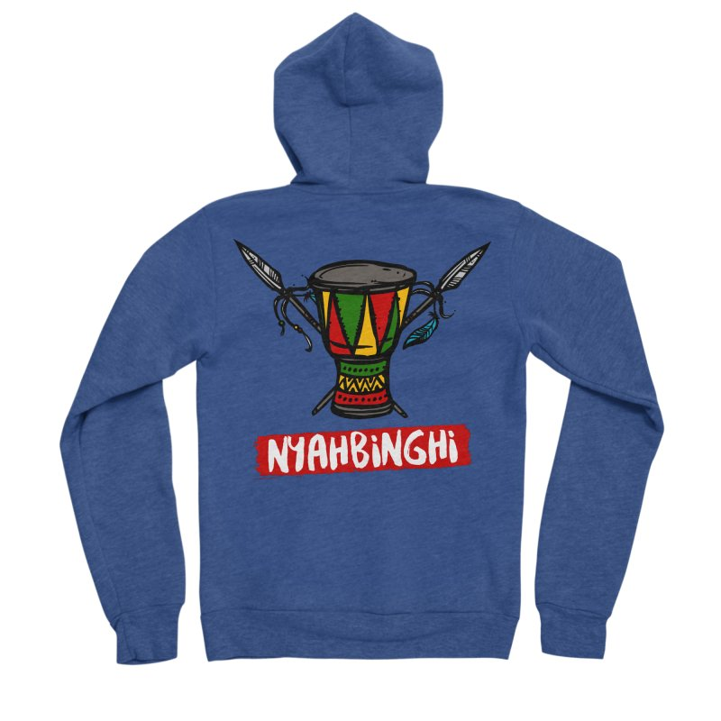 Rasta Nyabinghi Drum Men's Sponge Fleece Zip-Up Hoody by Rasta University Shop