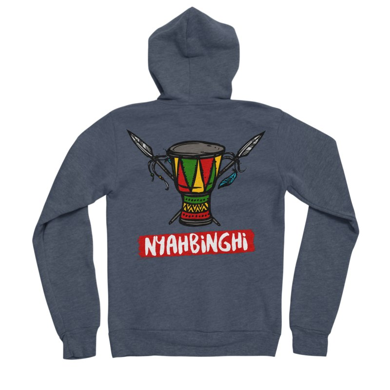 Rasta Nyabinghi Drum Women's Sponge Fleece Zip-Up Hoody by Rasta University Shop