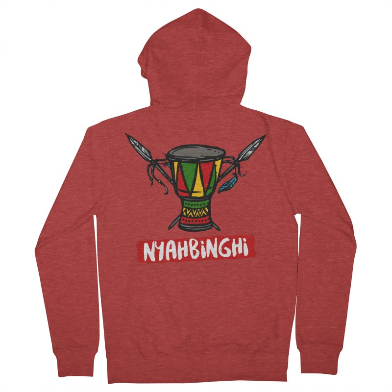 Rasta Nyabinghi Drum Men's French Terry Zip-Up Hoody by Rasta University Shop