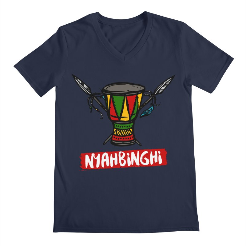 Rasta Nyabinghi Drum Men's Regular V-Neck by Rasta University Shop