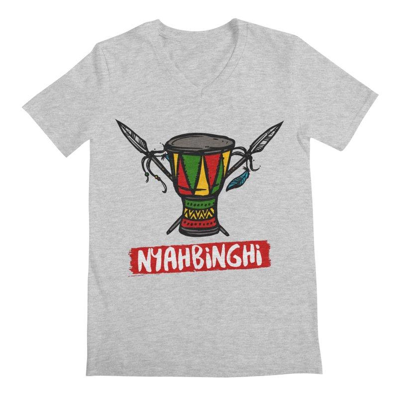 Rasta Nyabinghi Drum Men's Regular V-Neck by Rasta University Shop
