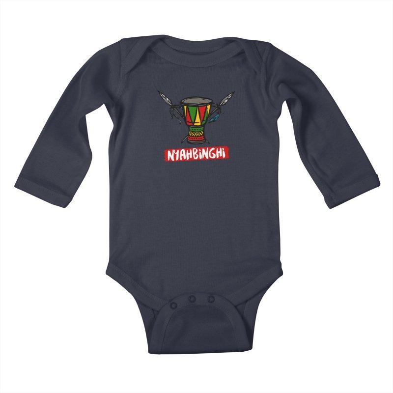 Rasta Nyabinghi Drum Kids Baby Longsleeve Bodysuit by Rasta University Shop