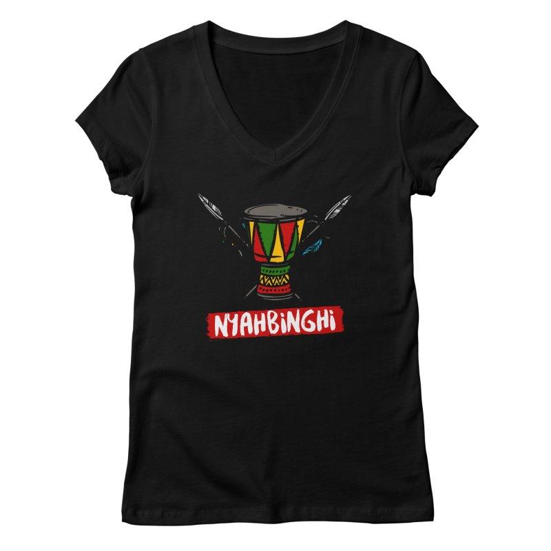 Rasta Nyabinghi Drum Women's V-Neck by Rasta University Shop