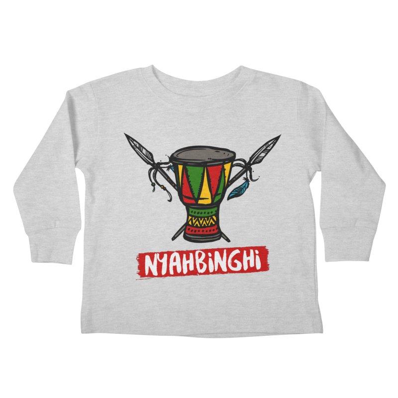Rasta Nyabinghi Drum Kids Toddler Longsleeve T-Shirt by Rasta University Shop