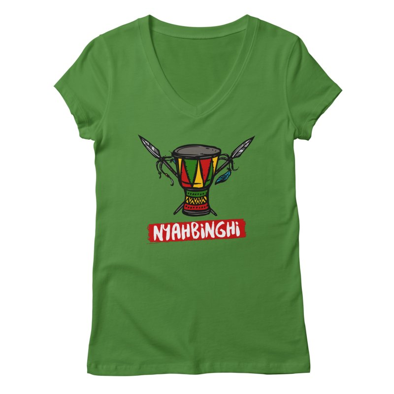 Rasta Nyabinghi Drum Women's Regular V-Neck by Rasta University Shop