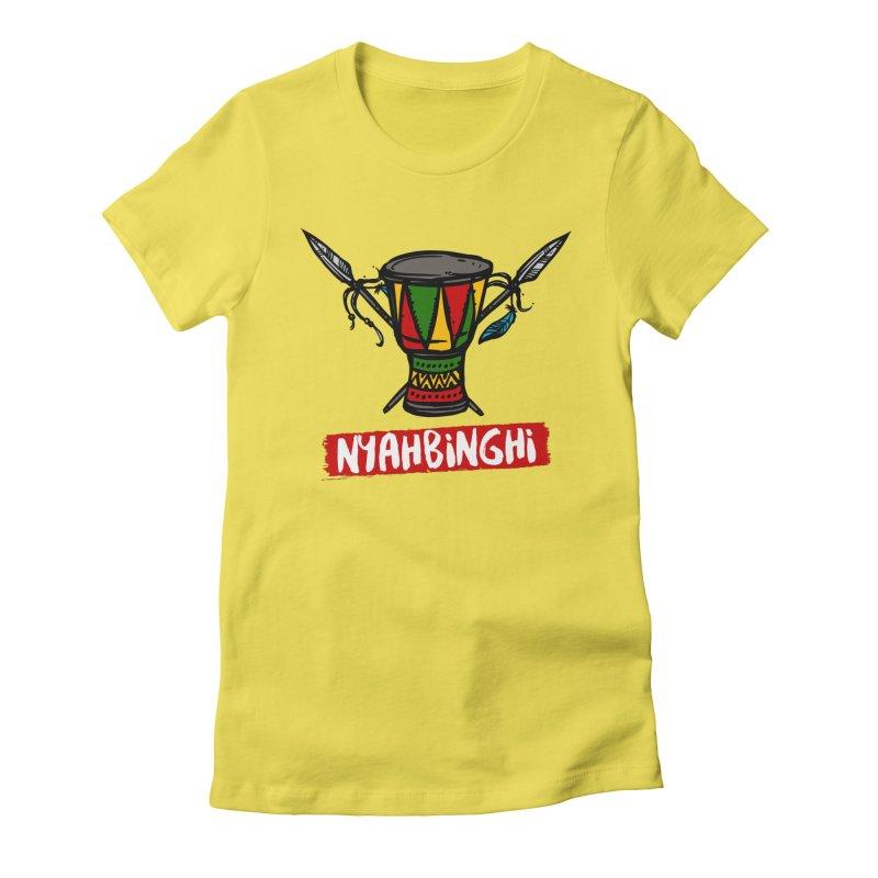 Rasta Nyabinghi Drum Women's Fitted T-Shirt by Rasta University Shop