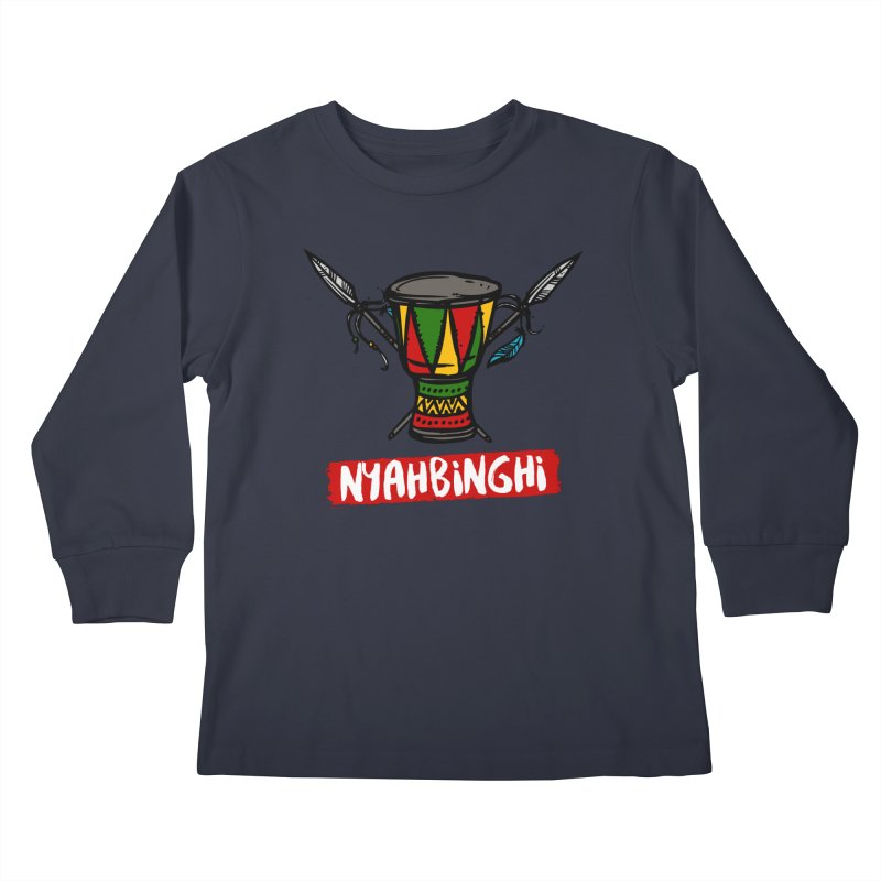 Rasta Nyabinghi Drum Kids Longsleeve T-Shirt by Rasta University Shop