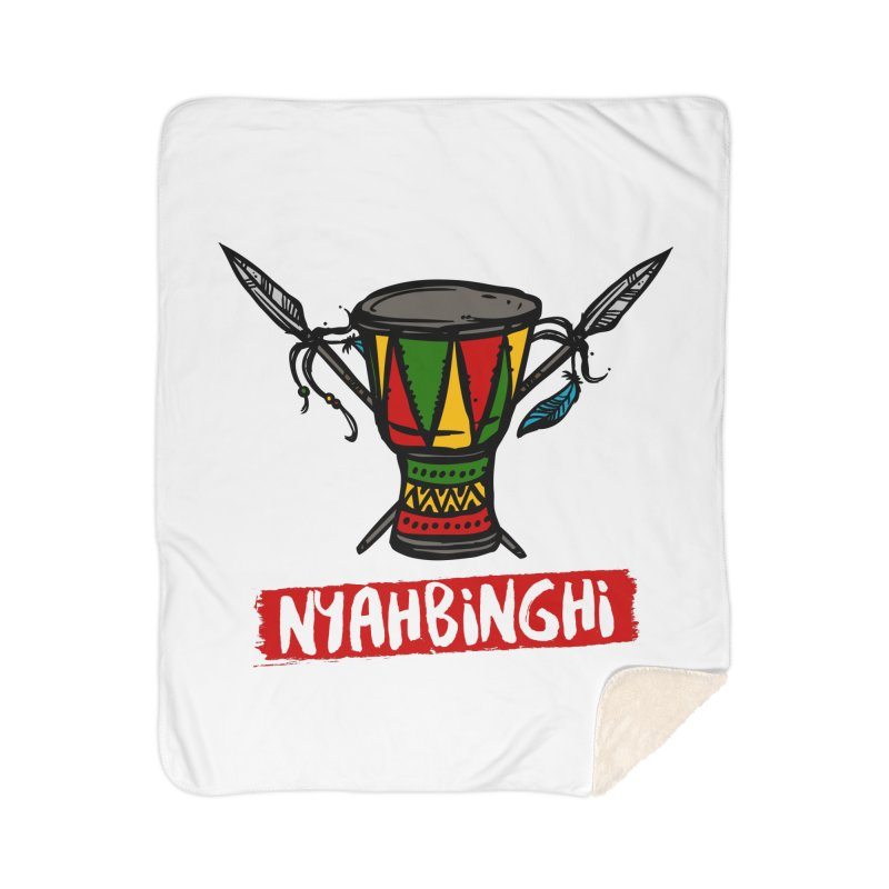 Rasta Nyabinghi Drum Home Sherpa Blanket Blanket by Rasta University Shop