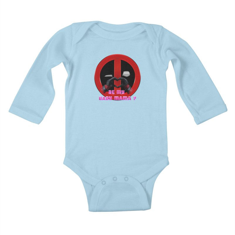 DeadPool Heart H Be My Baby Mama 2 Kids Baby Longsleeve Bodysuit by ratherkool's Artist Shop