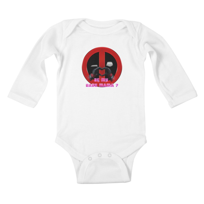 DeadPool Heart H Be My Baby Mama 2 Kids Baby Longsleeve Bodysuit by ratherkool's Artist Shop