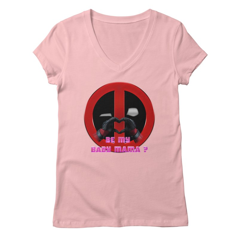 DeadPool Heart H Be My Baby Mama 2 Women's V-Neck by ratherkool's Artist Shop