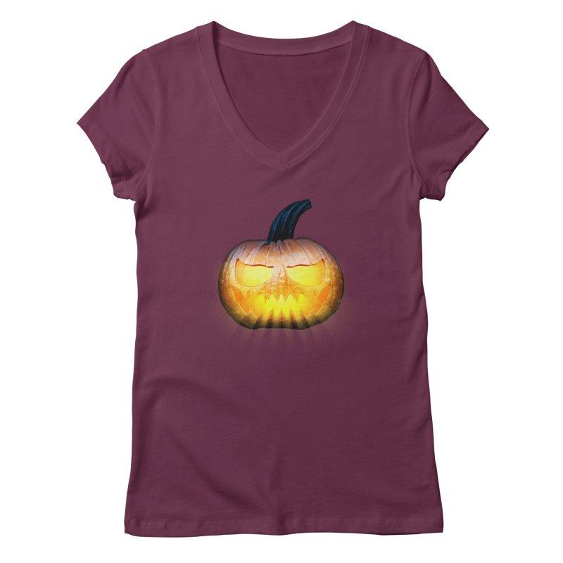 PumpKin 4 Women's V-Neck by ratherkool's Artist Shop