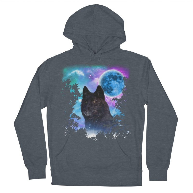 Black Wolf MidNight Forest Women's Pullover Hoody by ratherkool's Artist Shop