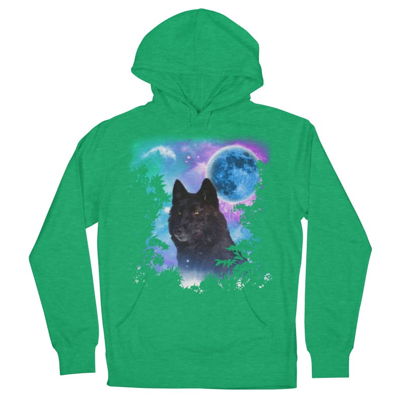 Black Wolf MidNight Forest Men's Pullover Hoody by ratherkool's Artist Shop