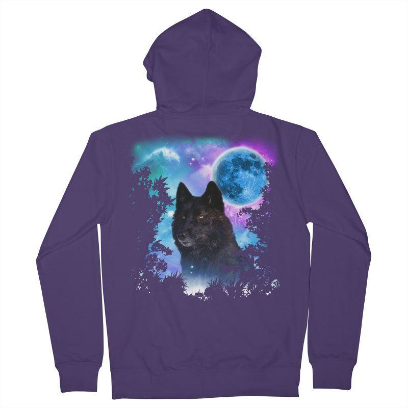 Black Wolf MidNight Forest Women's Zip-Up Hoody by ratherkool's Artist Shop