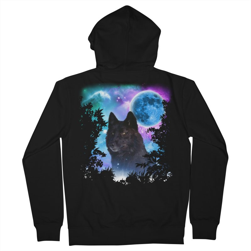 Black Wolf MidNight Forest Men's Zip-Up Hoody by ratherkool's Artist Shop
