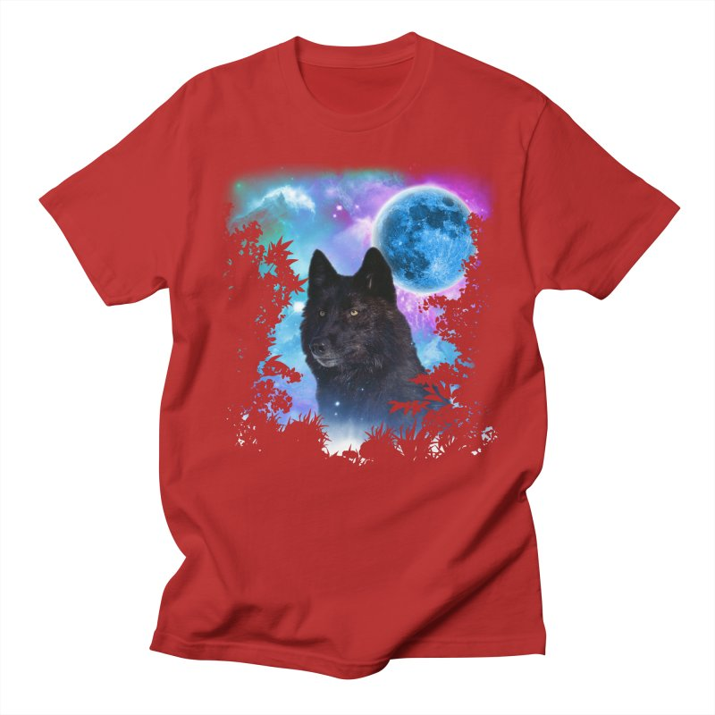 Black Wolf MidNight Forest Men's T-shirt by ratherkool's Artist Shop