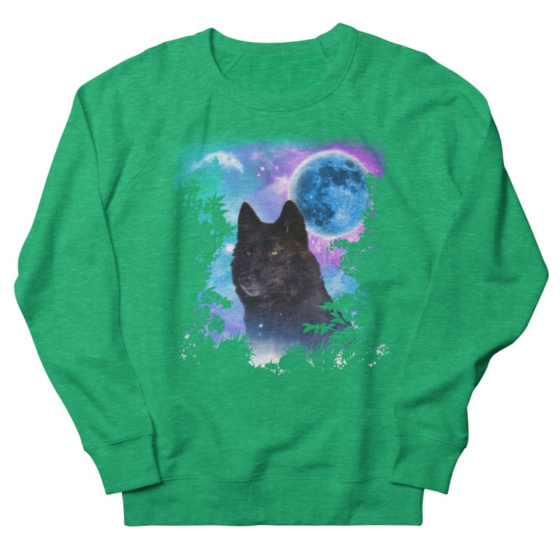 Black Wolf MidNight Forest Women's Sweatshirt by ratherkool's Artist Shop