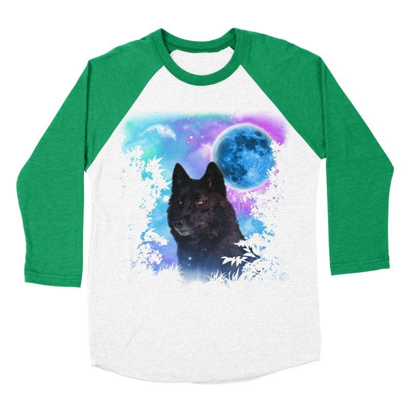 Black Wolf MidNight Forest Men's Baseball Triblend T-Shirt by ratherkool's Artist Shop