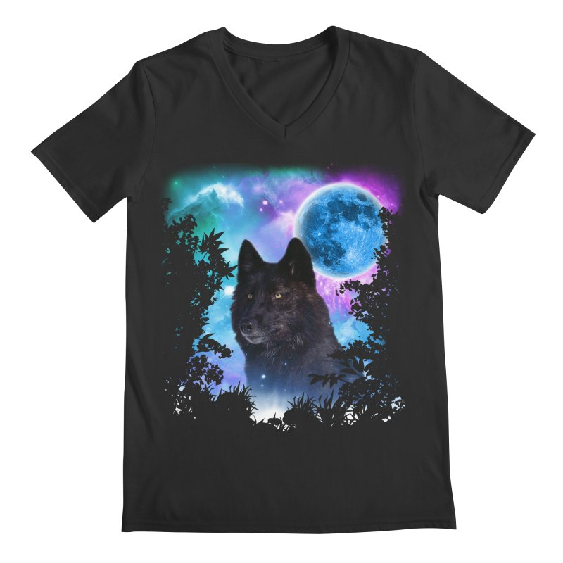 Black Wolf MidNight Forest Men's V-Neck by ratherkool's Artist Shop
