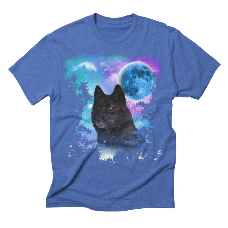 Black Wolf MidNight Forest Men's Triblend T-shirt by ratherkool's Artist Shop