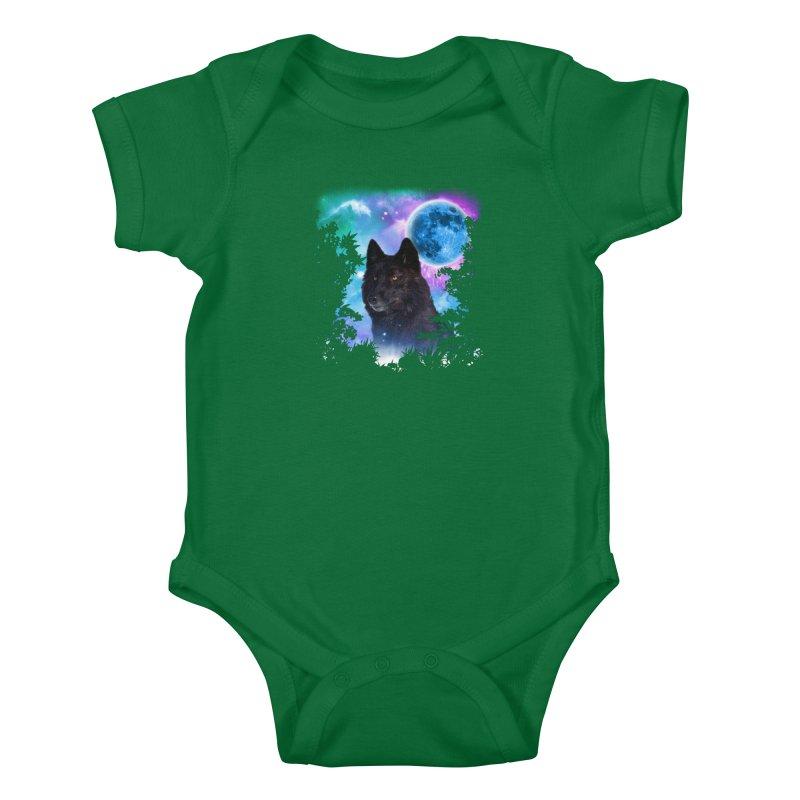 Black Wolf MidNight Forest Kids Baby Bodysuit by ratherkool's Artist Shop