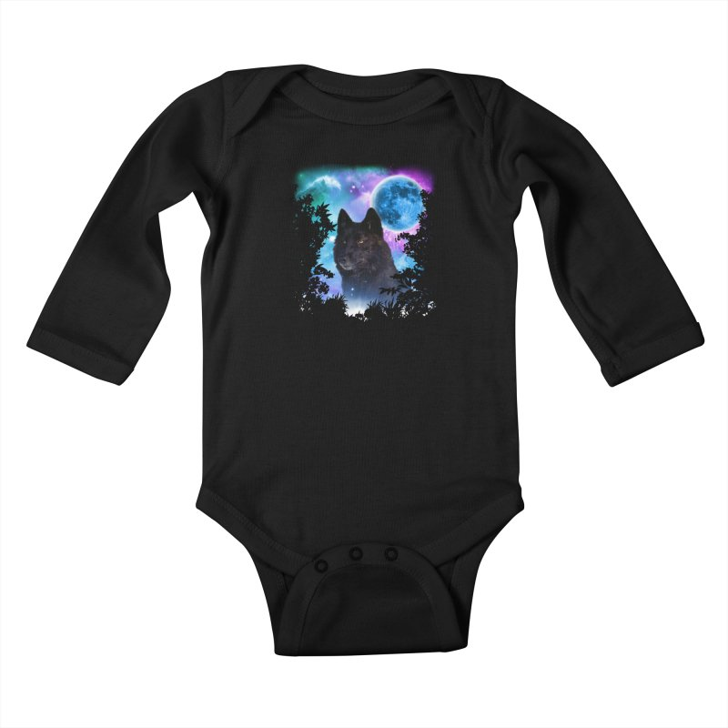 Black Wolf MidNight Forest Kids Baby Longsleeve Bodysuit by ratherkool's Artist Shop