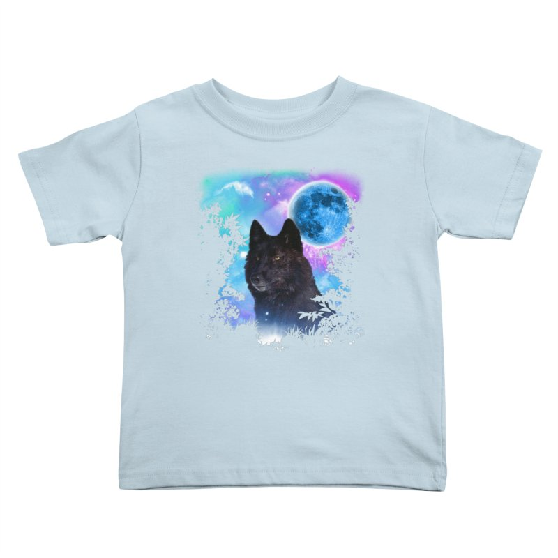 Black Wolf MidNight Forest Kids Toddler T-Shirt by ratherkool's Artist Shop