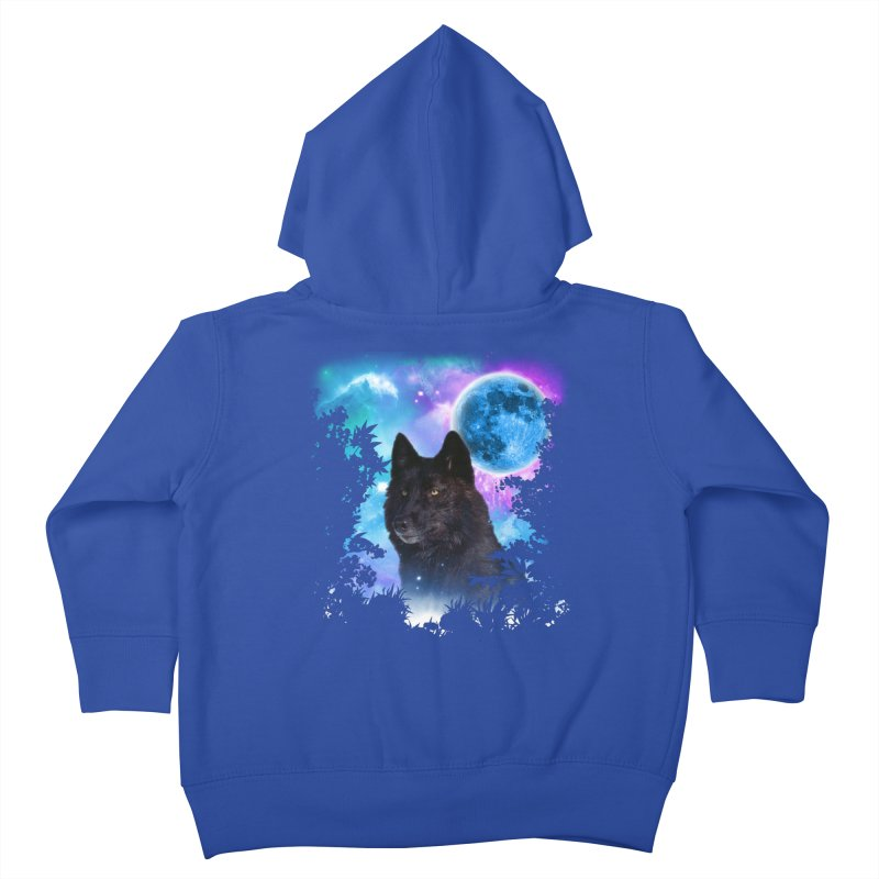 Black Wolf MidNight Forest Kids Toddler Zip-Up Hoody by ratherkool's Artist Shop