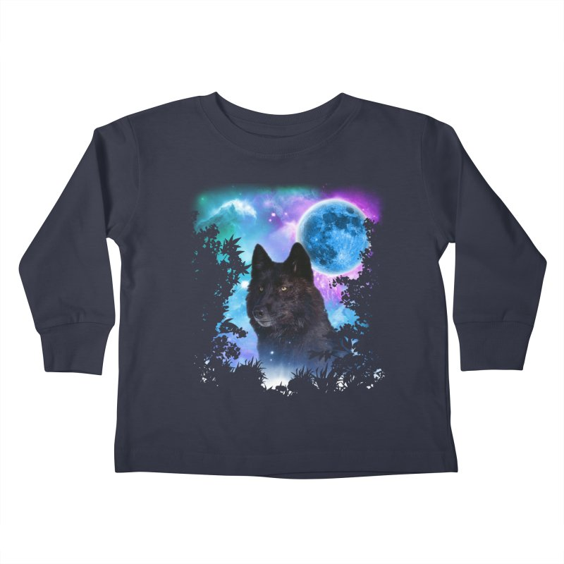 Black Wolf MidNight Forest Kids Toddler Longsleeve T-Shirt by ratherkool's Artist Shop