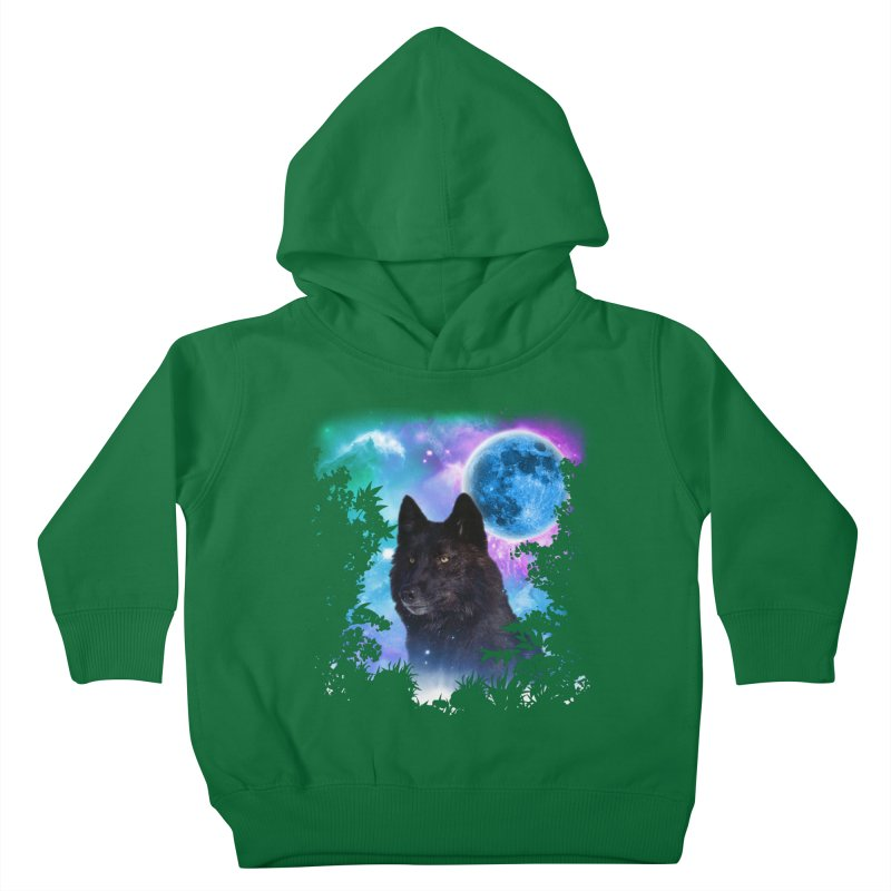 Black Wolf MidNight Forest Kids Toddler Pullover Hoody by ratherkool's Artist Shop