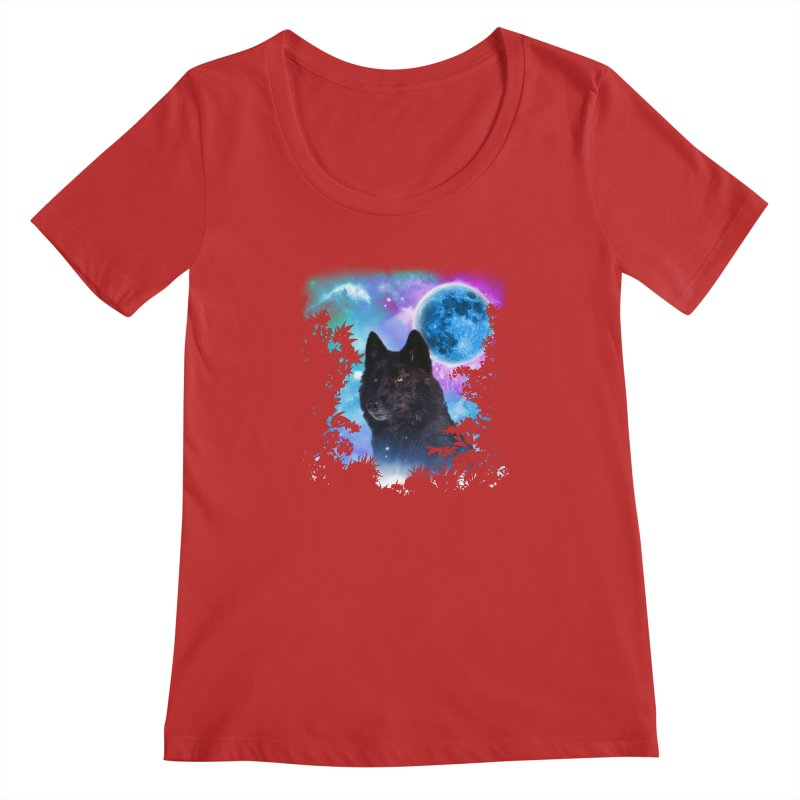 Black Wolf MidNight Forest Women's Scoopneck by ratherkool's Artist Shop