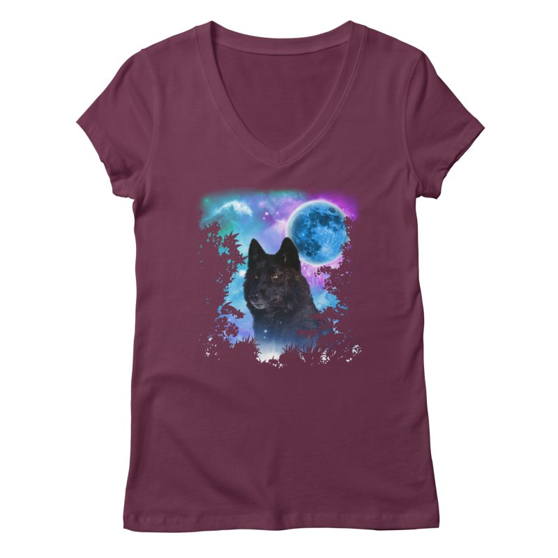 Black Wolf MidNight Forest Women's V-Neck by ratherkool's Artist Shop