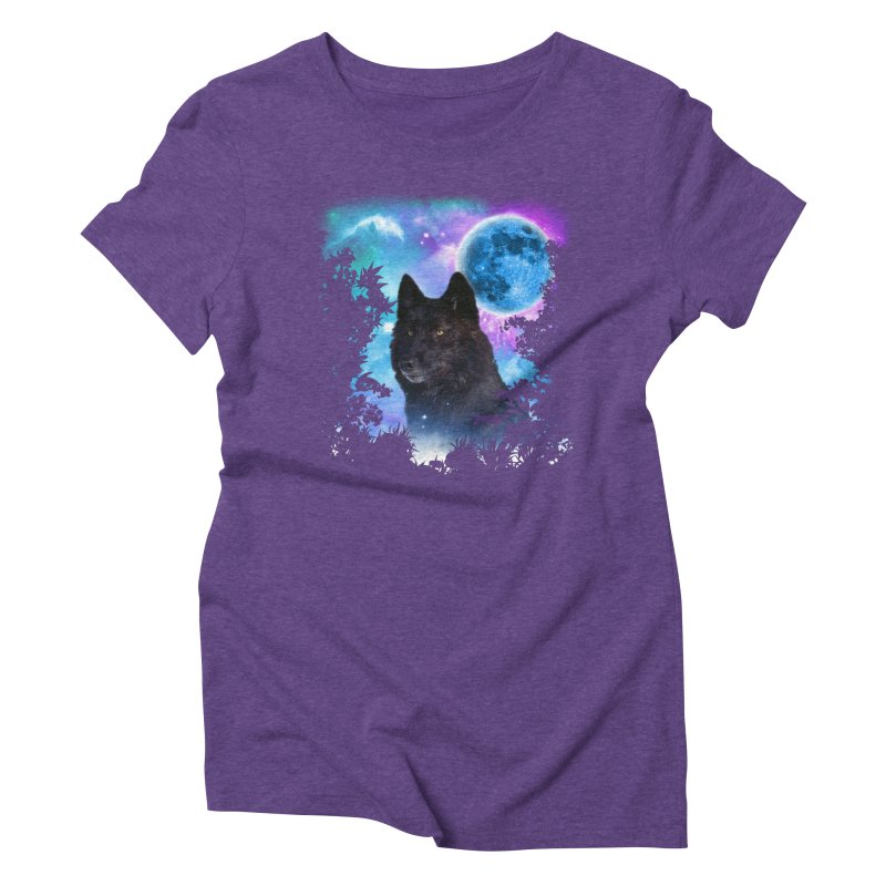 Black Wolf MidNight Forest Women's Triblend T-shirt by ratherkool's Artist Shop
