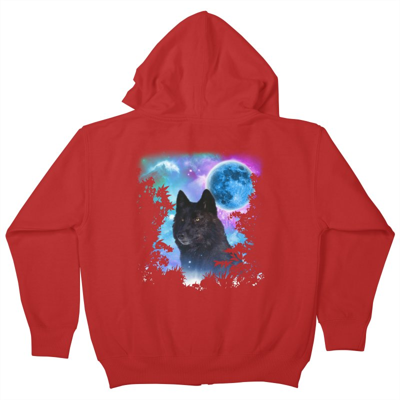 Black Wolf MidNight Forest Kids Zip-Up Hoody by ratherkool's Artist Shop