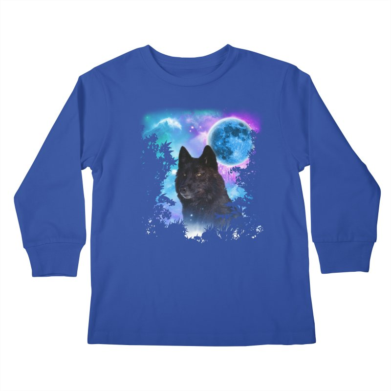 Black Wolf MidNight Forest Kids Longsleeve T-Shirt by ratherkool's Artist Shop
