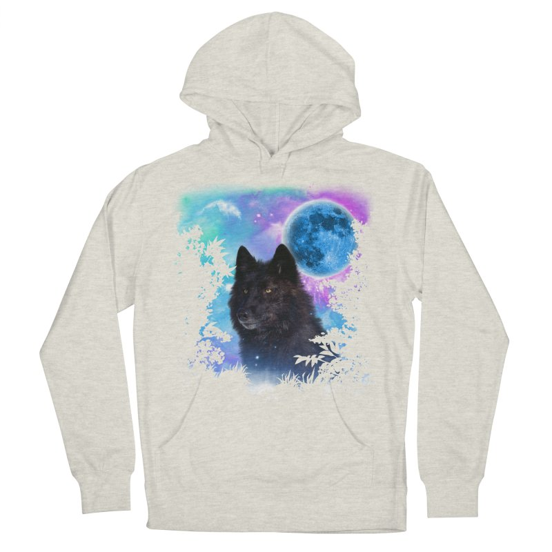 Black Wolf MidNight Forest edit Women's Pullover Hoody by ratherkool's Artist Shop
